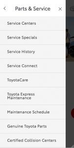 Mobile menu - Parts & Services